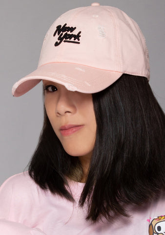 New York Shred Slouch Raglan Hat in Pink