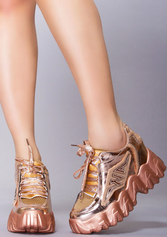 Champagne Strut Platform Wedge Sneakers