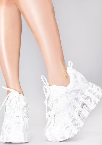 White Abstract Platform Wedge Sneakers