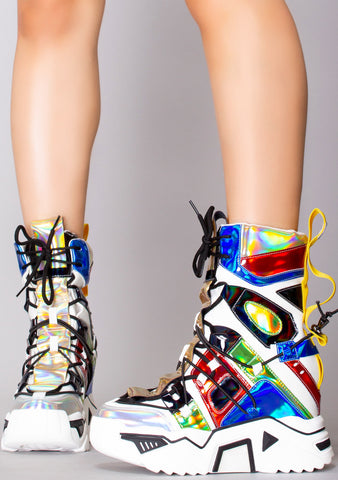 Rave Machine High Top Platform Wedge Sneakers