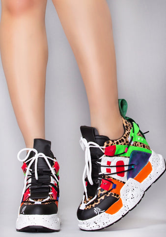 Savage Beast Platform Wedge Sneakers
