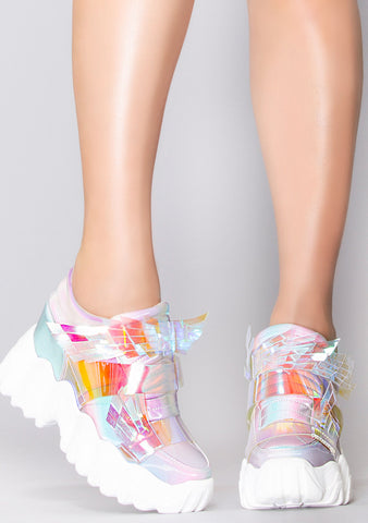 X LASR Exclusive Battle Angel Winged Platform Wedge Sneakers