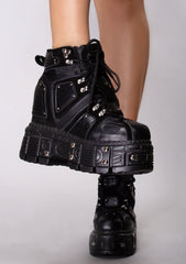 X LASR Exclusive Gone Rogue Studded Platform Wedge Sneakers