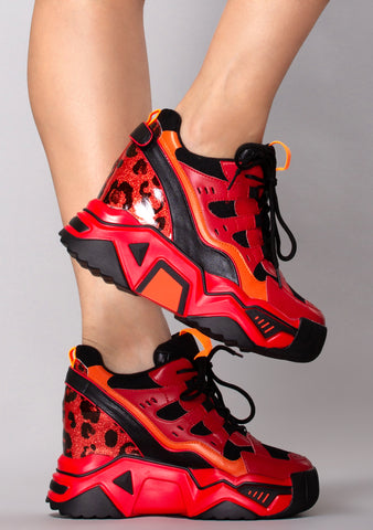 Product Red Platform Wedge Sneakers
