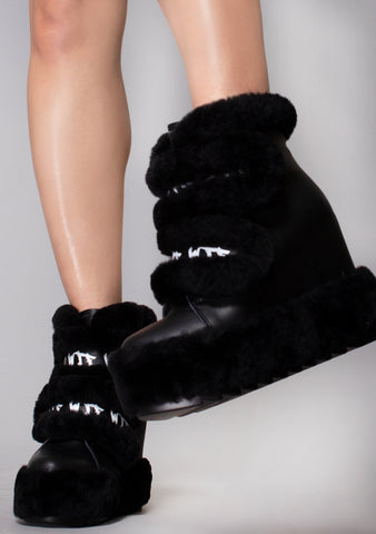 WTF Use Caution Faux Fur Wedge Boots
