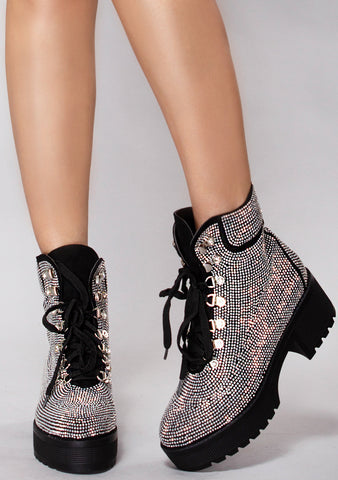 Bling Bling Babe Rhinestone Ankle Boots