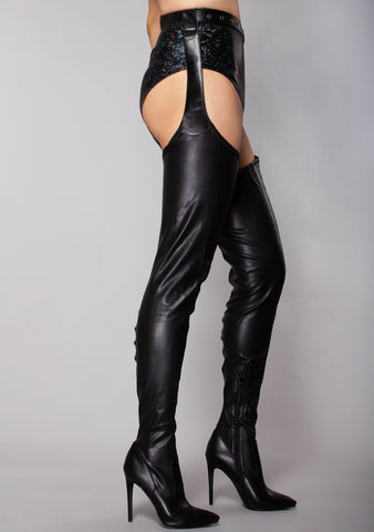 Mistress Of Doom Thigh High Chap Boots