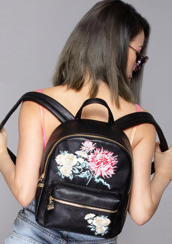 Sundaze Floral Embroidered Medium Backpack