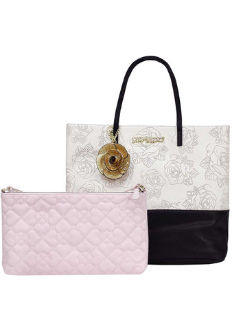 2 in 1 Rose Tote Pouch Bag