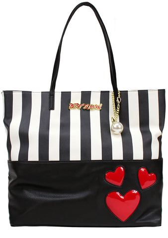 2 in 1 Striped Heart Tote Pouch Bag