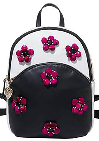 Betsey Johnson Bloomin Good Time Mini Backpack in Black/White