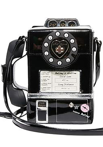 Betsey Johnson Call A Friend Phone Booth Crossbody Bag in Black