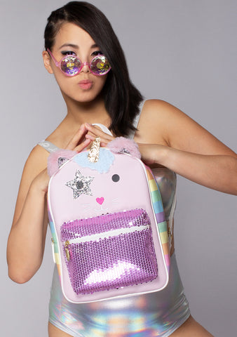 Caticorno Pixie Backpack in Pink Multi