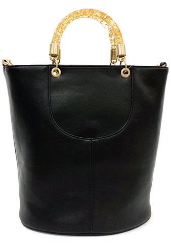 Betsey Johnson Confetti Rings Medium Bucket Bag in Black