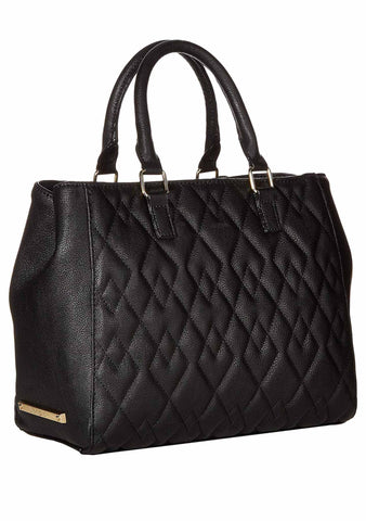 Diamond Quilted Bow Satchel Bag in Black