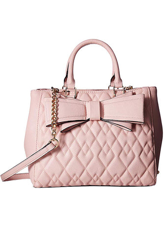 Diamond Quilted Bow Satchel Bag in Pink