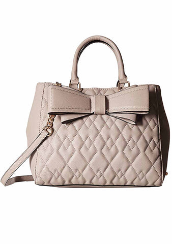 Diamond Quilted Bow Satchel Bag in Grey