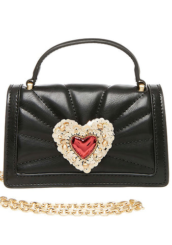 Betsey Johnson Hearts Afire Crossbody Bag in Black
