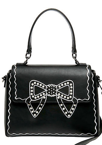 Betsey Johnson Kitsch Pretty Pearly Bow Crossbody Bag in Black