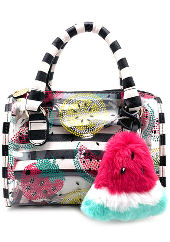Betsey Johnson LBSYDNEY Juicy Fruit Clear Vinyl Stripe Mini Satchel Bag