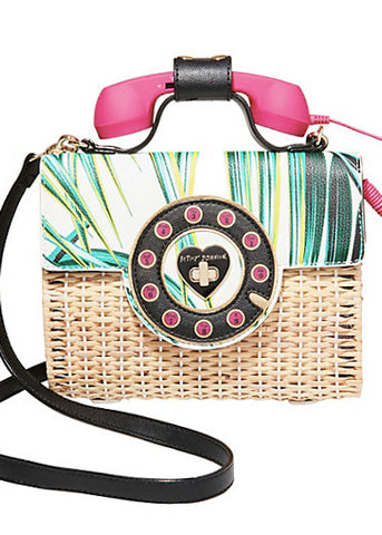 Betsey's Wicker Phone Crossbody Bag
