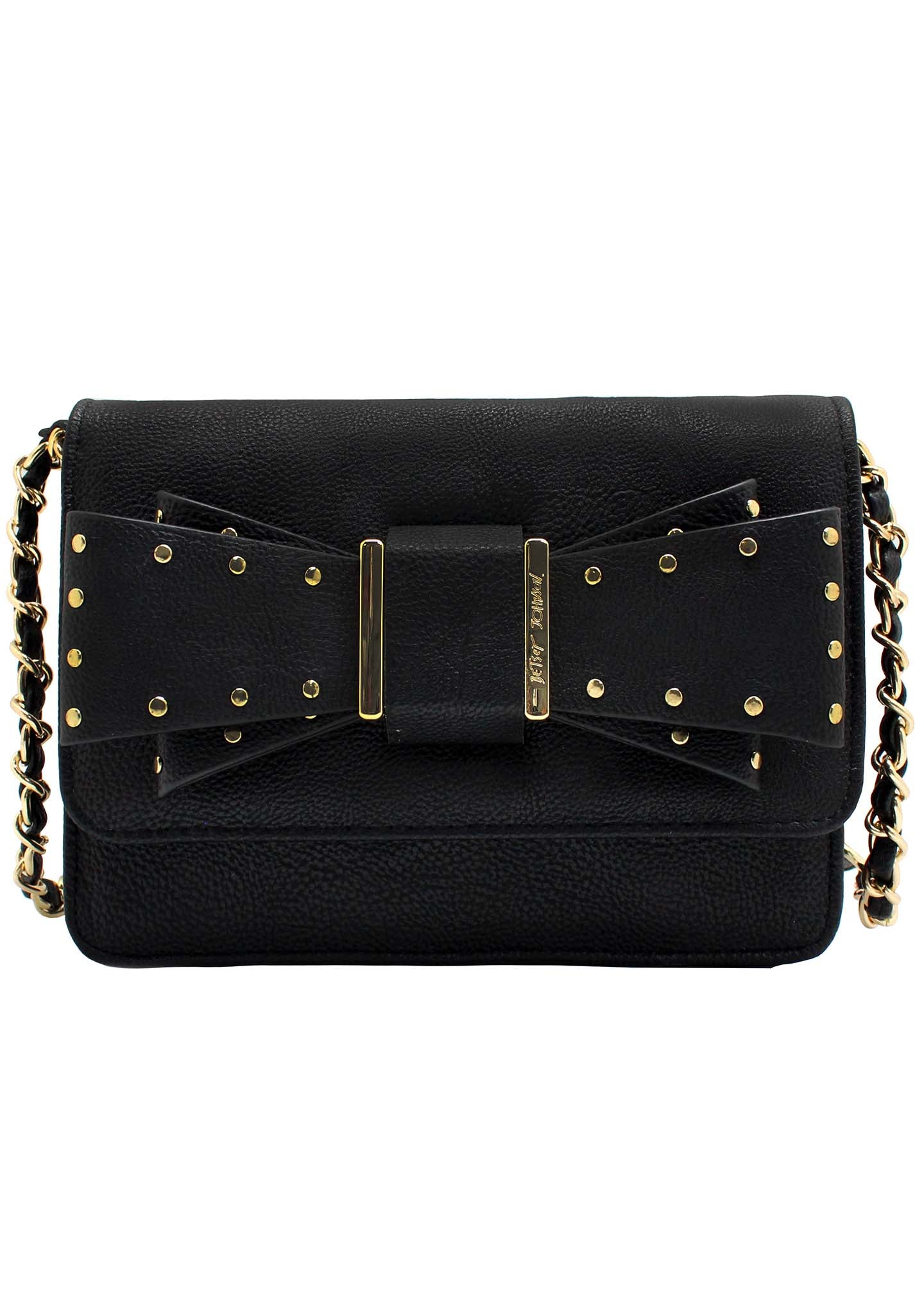 Studded Bow Crossbody Bag in Black