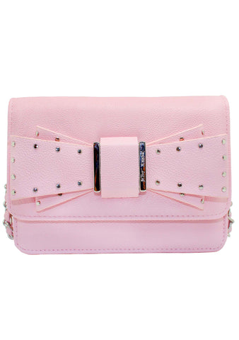 Studded Bow Crossbody Bag in Pink