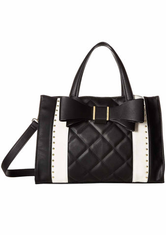 Tuxedo Bow Satchel Bag in Black