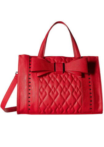 Tuxedo Bow Satchel Bag in Red