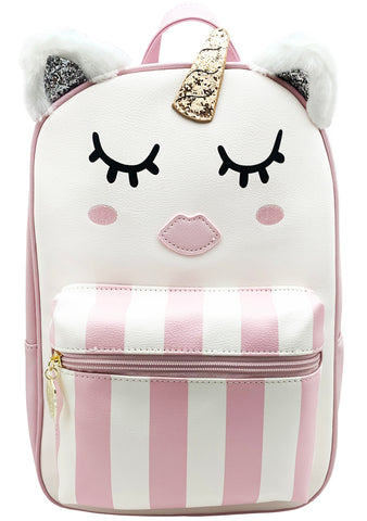 Unicorn Stripes Backpack in White Pink