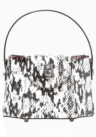 Vintage Vibes Top Handle Crossbody Bag in Black/White Snake