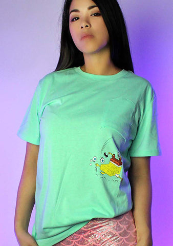X Nickelodeon Spongebob Falling Pocket Tee