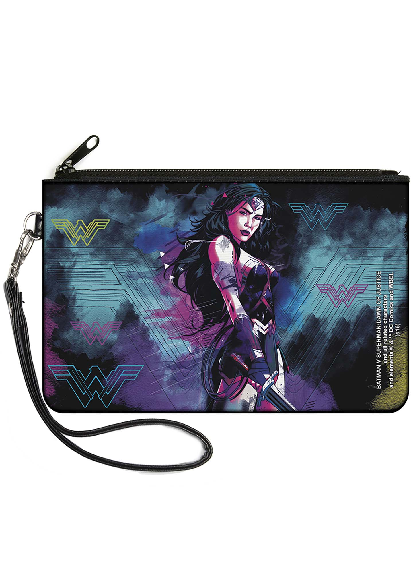 Buckle Down X Wonder Woman Dawn Of Justice Canvas Zip Wallet in Black/Purple