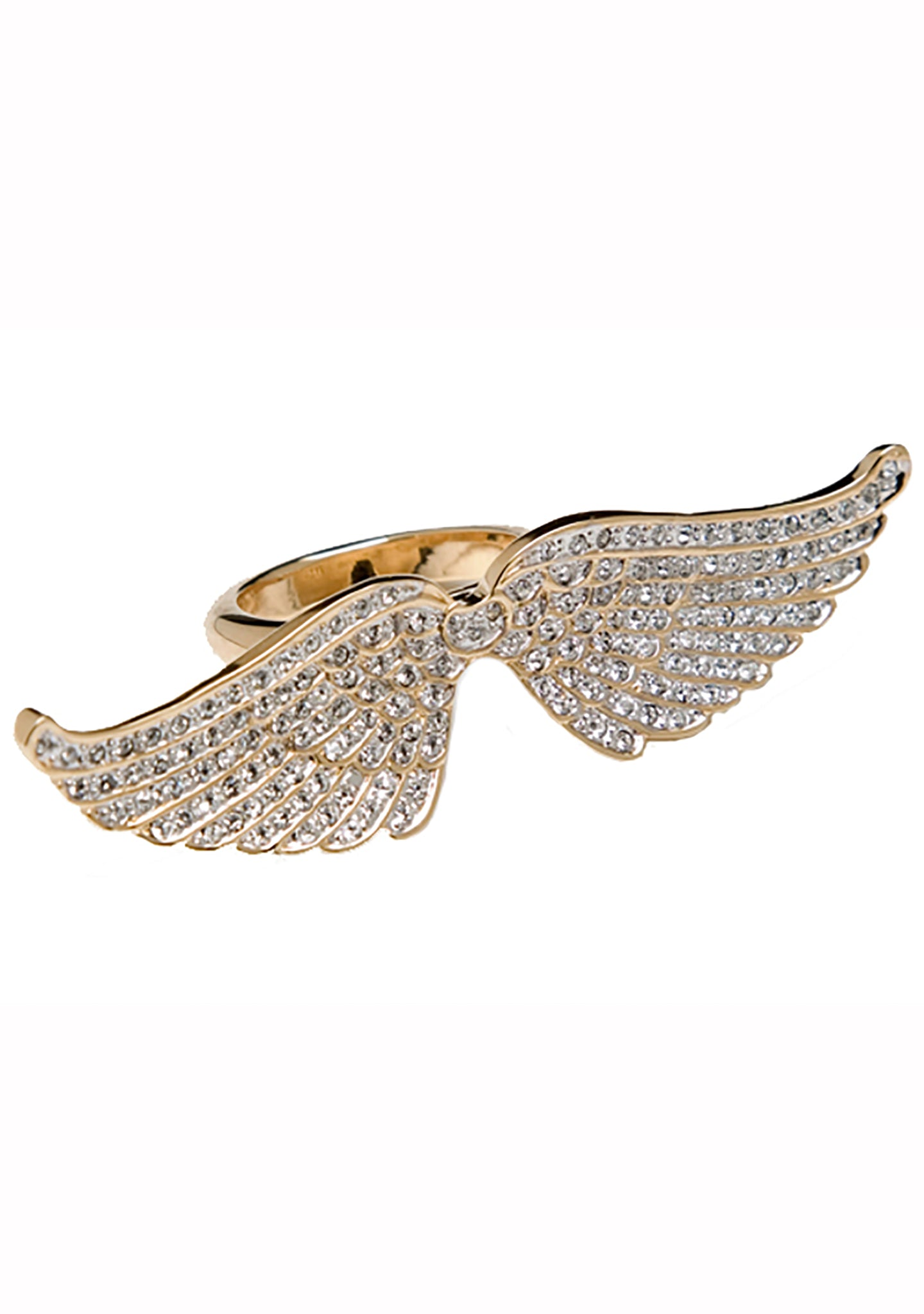 CC Skye Pave Angel Wing Ring in Gold
