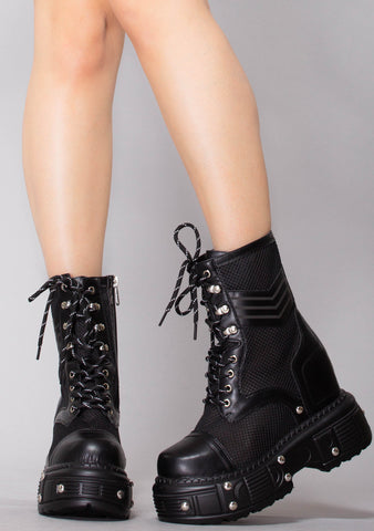 Desert Destroyer Perforated Wedge Platform Boots
