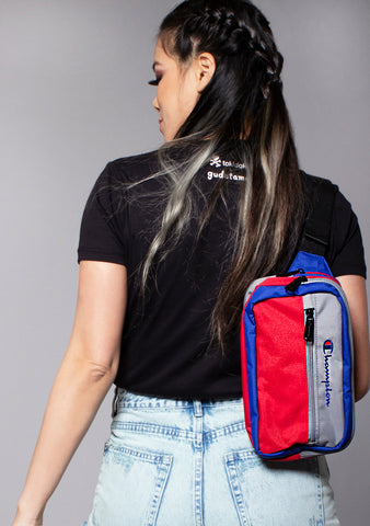 Champion Color Block Waist Pack in Gray/Red/Blue