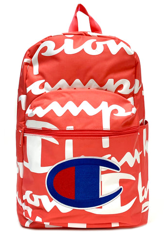 Champion Supercize 2.0 Logo Script Backpack in Coral/White