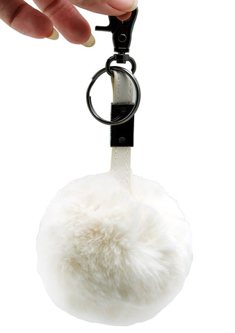 Circus By Sam Edelman Faux Fur Metal Keychain in Cream