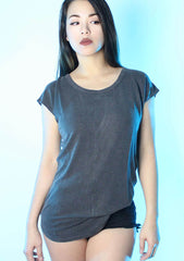Cut It Out Tunic Top in Charcoal