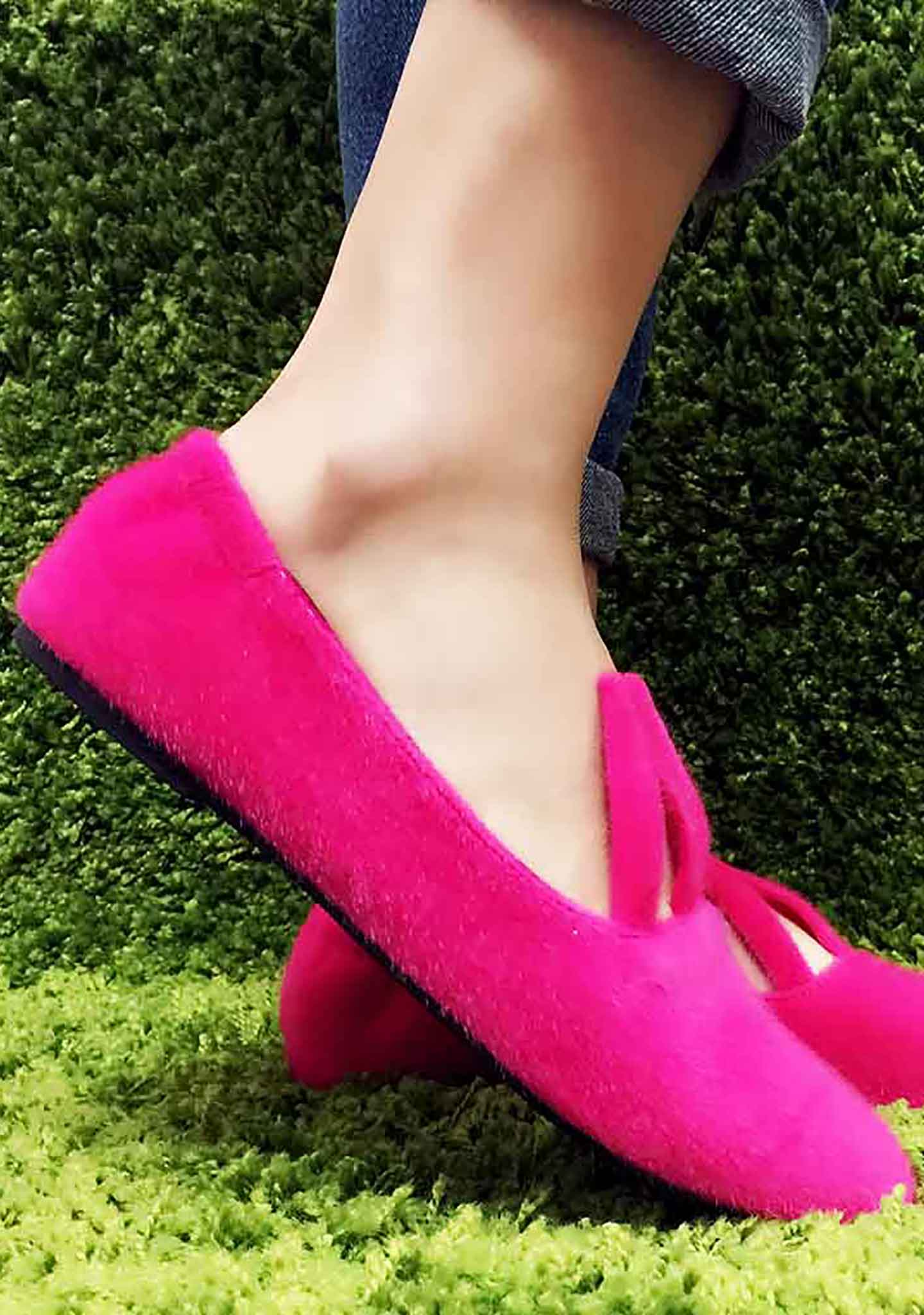 Cute To The Core Hopper Bunny Flats in Fuchsia
