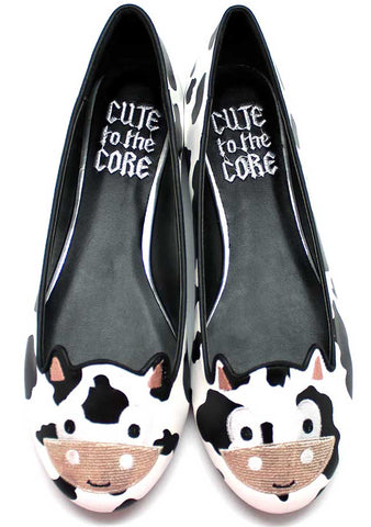 Cute To The Core Moo Moo Cow Flats in White/Black
