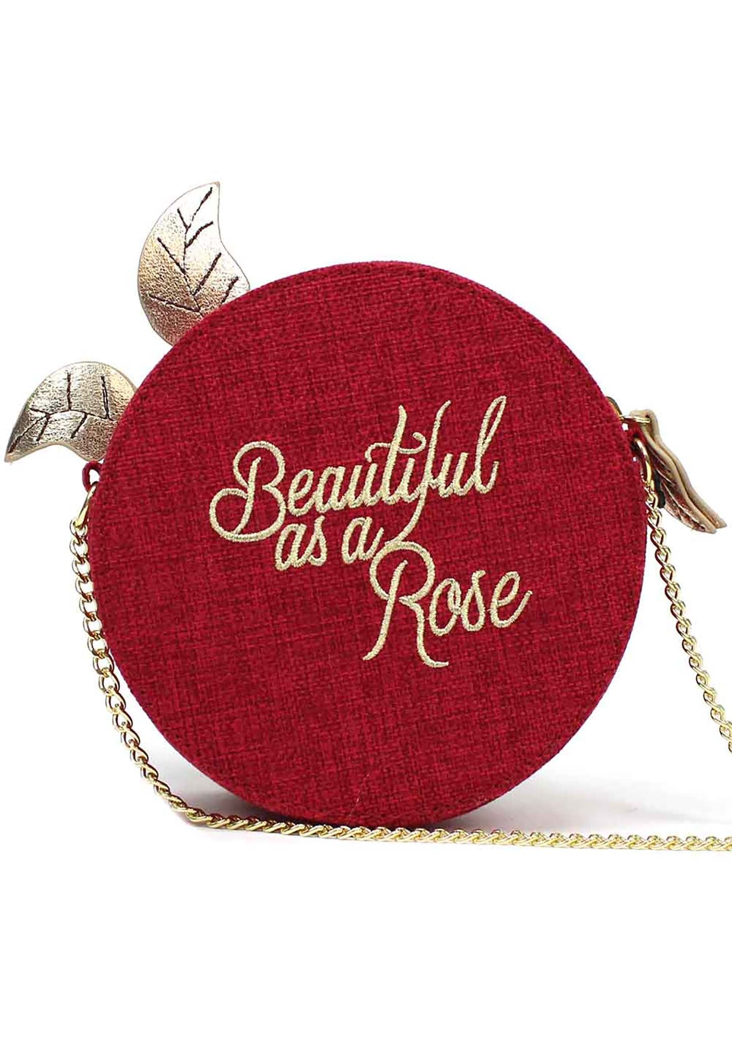 X Beauty and the Beast Linen Rose Crossbody Bag