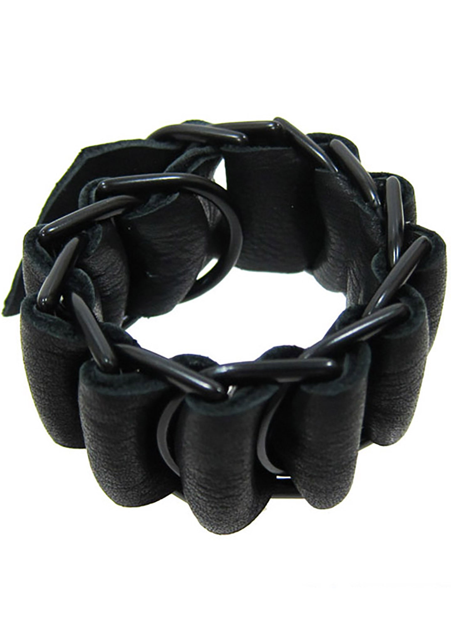 David Galan Large Military Leather Bracelet in Black