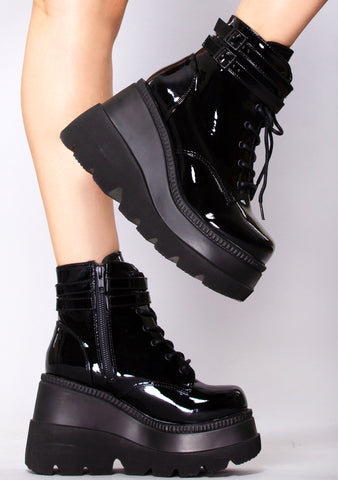 Paint it Black Platform Boots