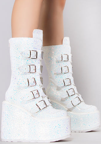 Stardust Glittered Multi Strapped Platform Boots