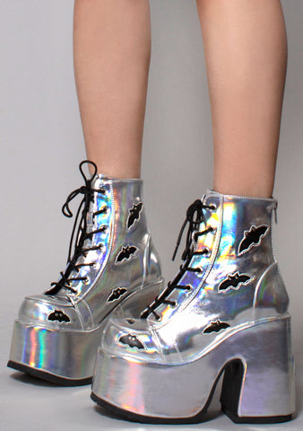 Demonia Batty Camel Kush Platform Boots in Silver Hologram