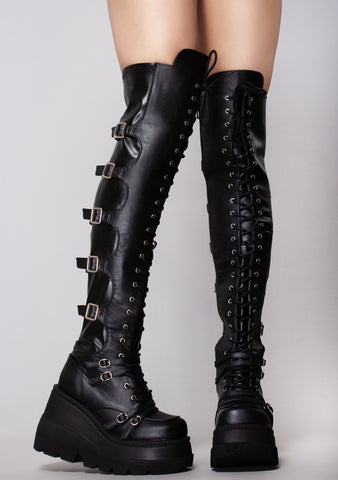 Black Widow Lace Up Knee High Platform Boots