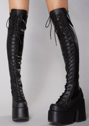 Rude Awakening Platform Thigh-High Boots