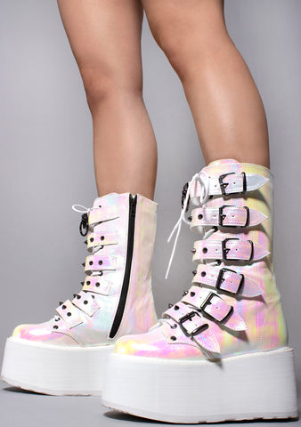 Demonia Damned Spike Platform Boots in Iridescent Pearl