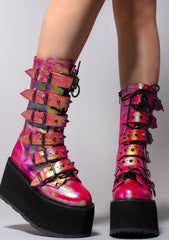 Demonia Damned Spike Platform Boots in Iridescent Pink Green